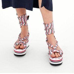 Zara Platform Sandals Ankle Strap 36 Red Striped